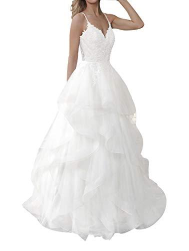 Brautkleid Lang Damen Hochzeitskleider Volants V-Ausschnitt Tüll Spitze Brautmoden A Linie mit Spaghettiträger Weiß EU32