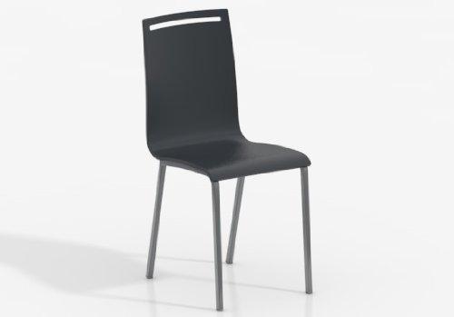 CANCIO Silla NERA - Asiento Madera Lacado Antracita/Patas Aluminio