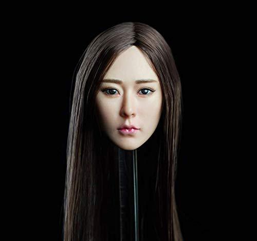 Hoofd Sculpt 1/6 Schaal Aziatische Schoonheid Meisje Hoofd Gesneden Model met Lange Plant Haar Toepassen op voor 12'' Naadloos Lichaam