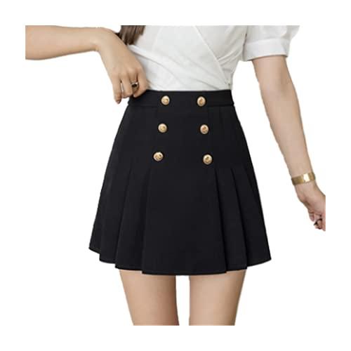 Coreano Stayle verano mujeres falda nueva doble pecho plisado falda cintura alta