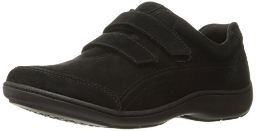 Aravon Women's Bromly Double Strap Fashion Sneaker,Black Suede,9.5 B US