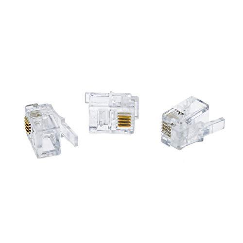 50pcs Cavo RJ11Modular Testa Plug Ethernet connettore di rete