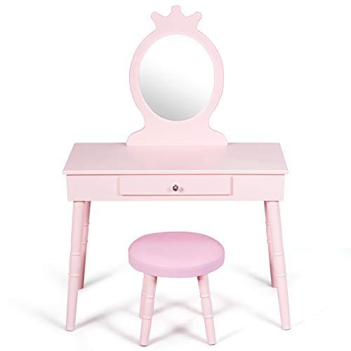 COSTWAY Kinder Schminktisch, Make up Tisch mit Hocker und abnehmbarem Spiegel, Frisierkommode Holz, Mädchen Frisiertisch mit Schublade 70x34x100cm (Rosa)