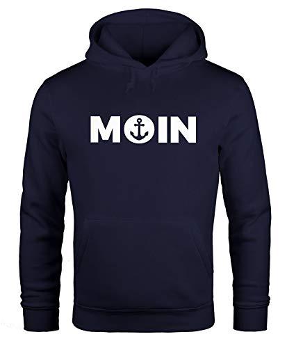MoonWorks Hoodie Herren Moin Herz mit Anker Kapuzen-Pullover Navy XL