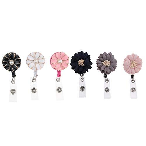 6-pack infällbar krokodilklämma ID JOJO med blommor dekoration för ID-ID-ID-ID-kortshållare, nycklar och kort