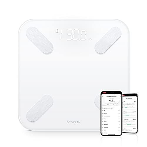 YUNMAI X Bilancia Pesapersone Digitale, Bilancia Impedenziometrica Intelligente Bluetooth con Bilancia Pesa con 10 Indici di Misurazione, Massa Magra, Grassa, BMI, App per iOS e Android Bianco
