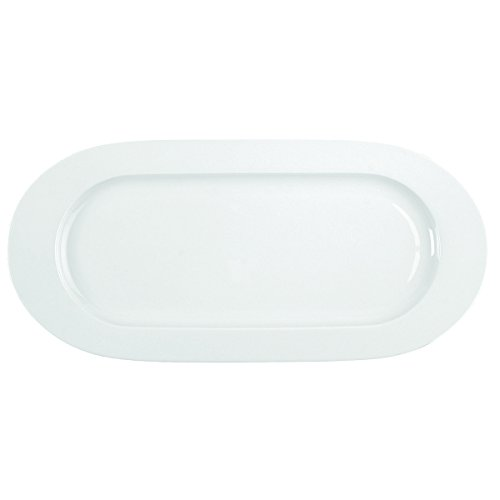 DEGRENNE - Plat à Cake, Porcelaine, Blanc - 40.5x19 cm