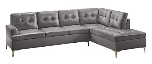 Homelegance Barrington 109' x 108' PU Leather Chaise Sofa, Gray