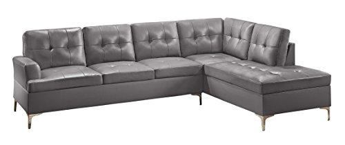 Homelegance Barrington 109' x 108' PU Leather Chaise Sofa, Gray