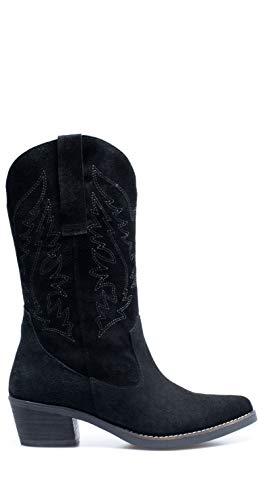 Zapatos miMaO. Botas Cowboy Piel Mujer Hechos EN ESPAÑA. Botas Cowboy Mujer. Botas Camperas Cómodas con Caña Bordada y Plantilla Ultra Confort Gel