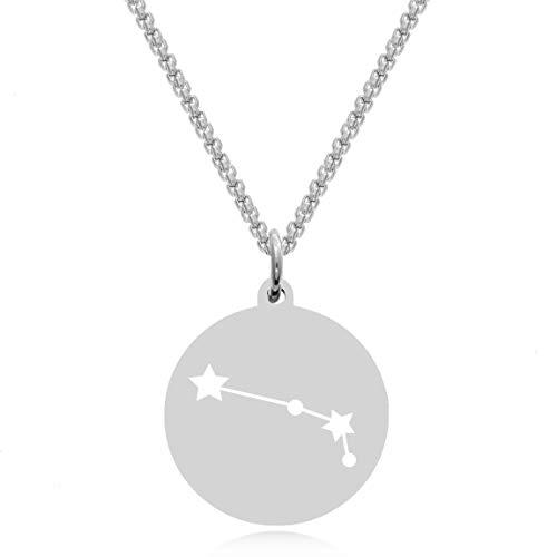 Timando Damen Kette Sternbild Widder mit Gravur Sternzeichen Plättchen Anhänger Edelstahl