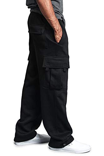 G-Style USA Men's Solid Fleece Heavyweight Cargo Pants FL77 - Black - 3X-Large