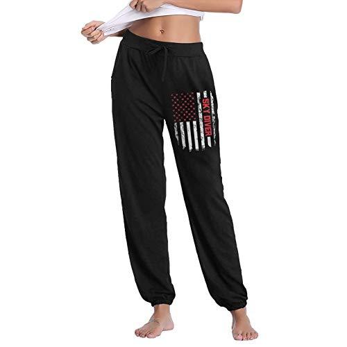 QAAIFSQC Skydiving Parachute American Flag Woman Autumn Winter Long Trousers Daily Jogger Drawstring Long Pants Black