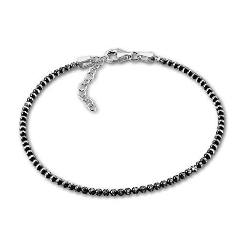 SilberDream Armband schwarz Kugeln 925 Sterling Silber 18-21cm Damen D2SDA1108K EIN Geschenk zu Weihnachten, Geburtstag, Valentinstag für die Frau