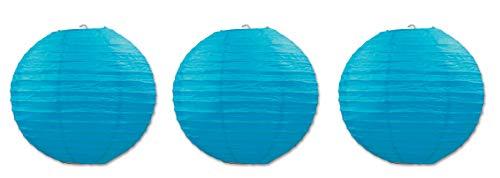 Beistle 54570-B Papierlaternen 3er-Pack türkis