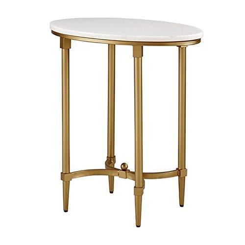 Tables FEI - Bureau d'ordinateur Basse en Fer d'appoint en marbre Canapé Rond d'appoint Salon Chambre à Coucher pour Tous Les postes de Travail