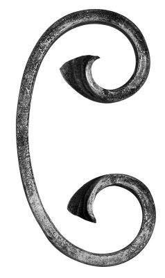 Fenau | C-Schnecke | Maße: 60x120 mm | Material: 12x5 mm | Stahl S235JR, roh| Zierteil aus Schmiedeeisen/Zierelement/Schnörkel für Metallzaun order Metalltor