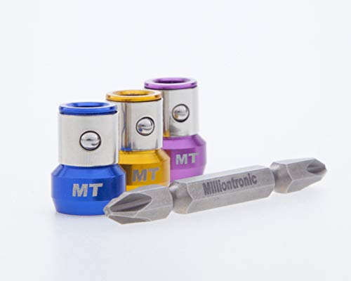"""3 Magnetic Screw lock Sleeves and Double Head Phillips PH2 Screwdriver Bit. Accepts All 1/4"""" Screwdriver & Impact Bits. Precision CNC Machined S2 Steel & Aluminum. Strong Neodymium Magnet Rings"""
