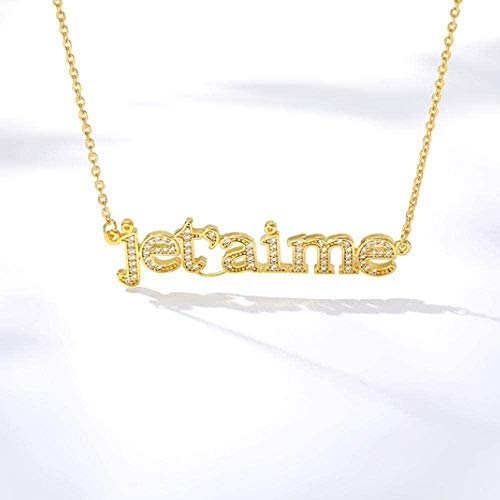 FACAIBA Necklace Woman Man French Zircon Necklace Letter Je t aime Necklaces & Pendants for Women Lover Rose Gold Silver Stainless Steel Woman Pendant Necklace Gift