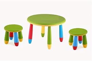 Aranaz Conjunto mesas y 2 Silla Alta o taburetes para pequeños Redonda cpu2003008-DESKandSIT-