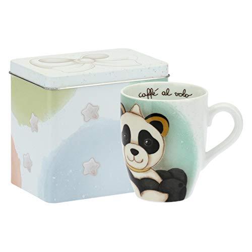 THUN ® - Mug Panda Pisces con Scatola in Latta per tè, caffè, tisana - Porcellana - 300 ml - Ø 8,5 cm