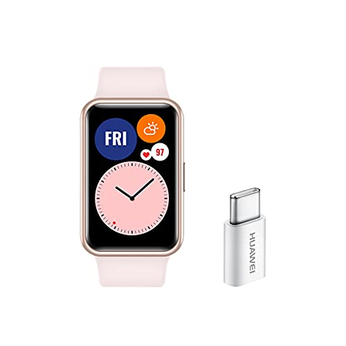 """HUAWEI WATCH FIT - Smartwatch, pantalla AMOLED de 1,64"""" y Adaptador USB-C, hasta 10 días de batería, 96 modos de entrenamiento, GPS incorporado, 5ATM, saturación de oxígeno en sangre, Rosa"""