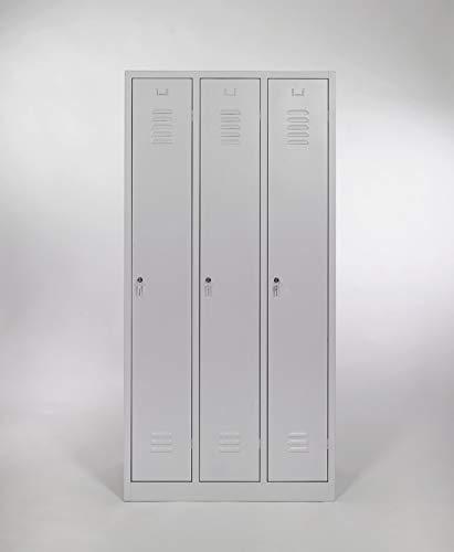furni24 Garderobenschrank 90 cm x 50 cm x 180 cm grau 3-türig 30cm Abteilbreite fertig montiert Verschiedene Ausführungen verfügbar