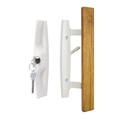 """Lanai Sliding Glass Door Handle and Mortise Lock Set with Oak Wood Pull in White Finish, Includes Key Cylinder, Standard 3-15/16"""" CTC Screw Holes, 1-1/2' Door Thickness"""