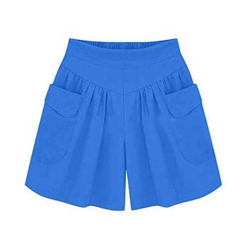 Xmiral Shorts Damen Einfarbig Breite Bein Kurz Hosen Elastische Taille Hosen Sporthosen Freizeit Mode Wilde Persönlichkeit Hosen(Blau,L)