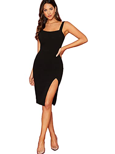 Aahwan Black Solid Split Thigh Bodycon Dress for Women &...