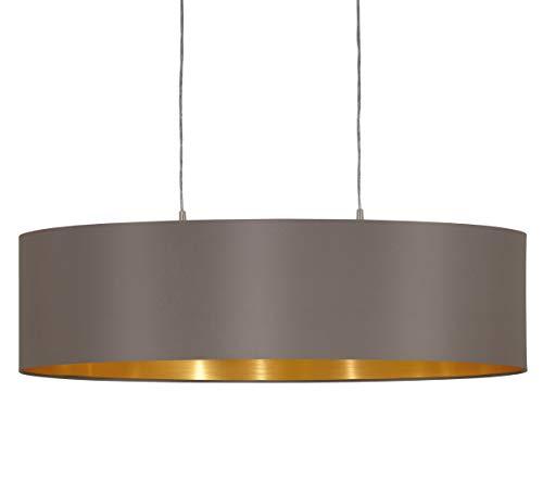 EGLO Pendellampe Maserlo, 2 flammige Textil Pendelleuchte, Hängeleuchte oval aus Stahl und Stoff, Farbe: Nickel matt, cappuccino, gold, Fassung: E27, L: 78 cm