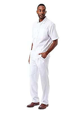 STACY ADAMS Men's Fancy Spring Linen Outfits (L/36, White) by