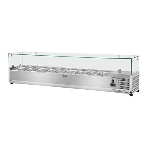 Royal Catering Vitrina refrigerada RCKV-200/39-G9 (200 x 39 cm, 76 L, para 9 x GN 1/3, 2-10 °C, 125 W, R600a, Termostato, Cubierta de cristal, Función descongelado)