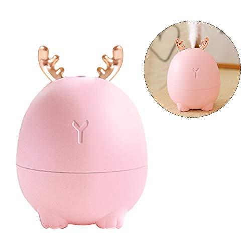 Decdeal Mini Humidificador de Difusor de Aceite Esencial Aromaterapia Hogar Humidificador Ultrasónico Difusores USB (Pink&Deer)