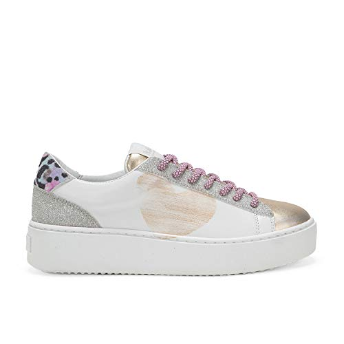 Cosmopolitan Cuore Paradise - Sneakers in Pelle Floreale con Micloglitter - Disegno Effetto Water Painting a Mano - 36 - Floreale