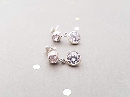 Sterling Silver Post Earrings with double CZ, dangle, 4mm and 6mm cubic zirconia