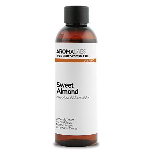 BIO - Aceite vegetale de Almendras Dulces - 100ml - garantizado 100% puro, natural y prensado en frío - Orgánico certificado por Ecocert - Aroma Labs