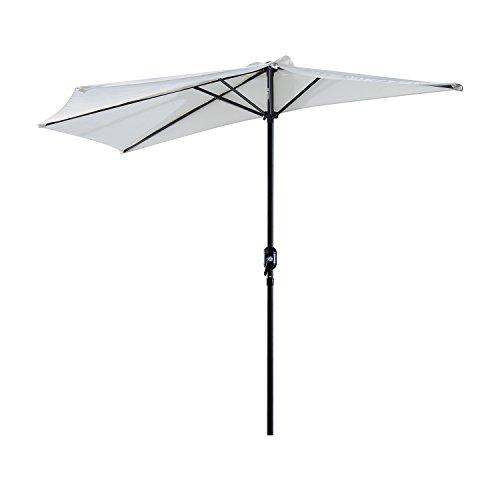 Outsunny Sonnenschirm Kurbelschirm Gartenschirm Schirm Marktschirm, Metall, halbrund, Cremeweiß+Schwarz