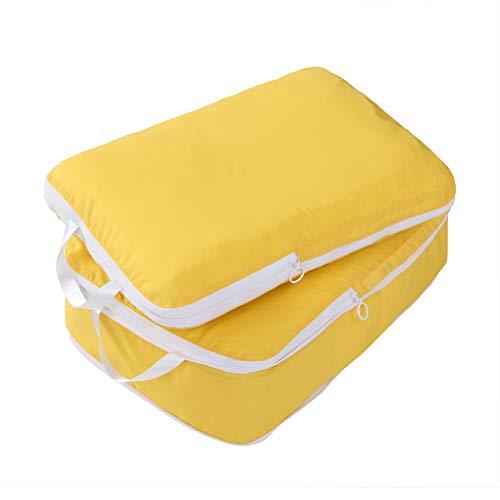圧縮できるトラベルポーチ 超軽量 大容量 Lサイズ 2点セット 旅行 出張 スーツケース整理 衣類収納 ファスナー圧縮 スペース節約 パッキングキューブ (イエロー)