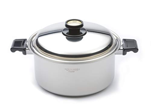 Kitchen Craft 8 Quart Stock Pot with Lid, Dutch Oven, Waterless Cookware, Induction Cookware, Handcrafted in the USA, Stainless Steel Cookware, Oven Safe Stockpot (8 Quart)