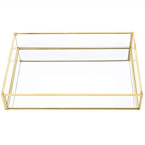Fdit1 Scatole di Esposizione dei Cosmetici dei Gioielli del Vassoio dell'oro della Scatola di stoccaggio di Vetro d'Annata del Metallo((di Medie Dimensioni))