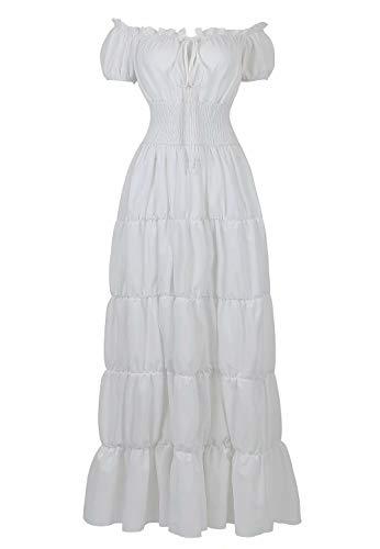 jutrisujo Mittelalter Kleid Renaissance Damen mit Trompetenärmel Party Kostüm bodenlang Vintage Retro Costume Cosplay Weiß S