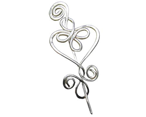 Celtic Heart Shawl Pin, Sterling Silver Sweater Brooch Handmade in Oregon by Nicholas and Felice