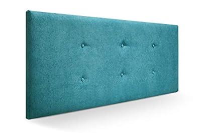 Cabecero tapizado acolchado para dormitorios con estructura en madera de pino Cabecero de cama acolchado con espumación HR Cabecero tapizado en tela antimanchas/polipiel Para camas de 80 (90 x 57 cm) tela turquesa