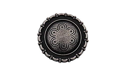 Silber antik Knöpfe Metall mit auffällig schönem Rand Made in Germany 15mm oder 20mm (5 Stück) (20mm)