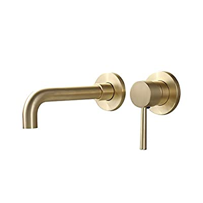 JinYuZe Modern 1 Handle Sink Faucet 2 Hole Wall Mounted Bathroom Faucet, Finished in Chrome and Brushed Brass