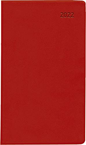 Taschenplaner Leporello PVC rot 2022 - Büro-Kalender 9,5x16 cm - 1M/1S - separates Adressheft - faltbar - Notiz-Heft - 501-1013-1