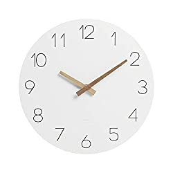 mooas Flatwood Wall Clock, 12 Wood Wall Clock Non-Ticking Sweep Movement Decorative Wall Clock Battery Operated Wall Clock Clock for Home Living Room Kitchen Bedroom Office School Hotel
