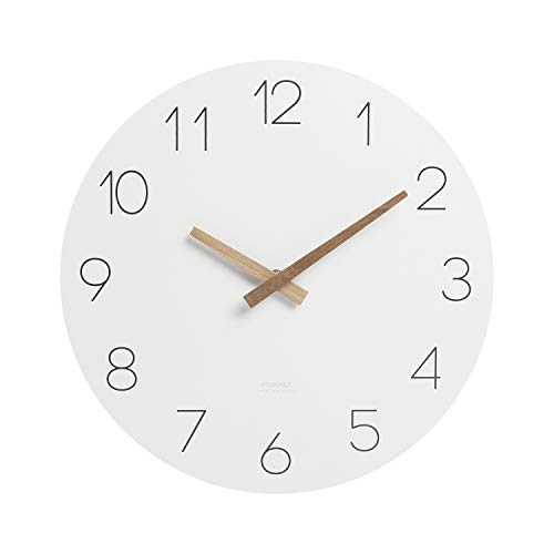 """mooas Flatwood Wall Clock, 12"""" Wood Wall Clock Non-Ticking Sweep Movement Decorative Wall Clock Battery Operated Wall Clock Clock for Home Living Room Kitchen Bedroom Office School Hotel"""