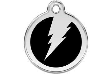 Red Dingo Custom Engraved Dog ID Tag - Lightning Bolt Medium/Black